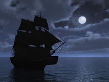 Tall Ship In Moonlight - 3d Re...