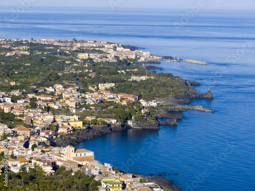 Panorama aerial on the sea and the village of the lemons coast Canvas Print