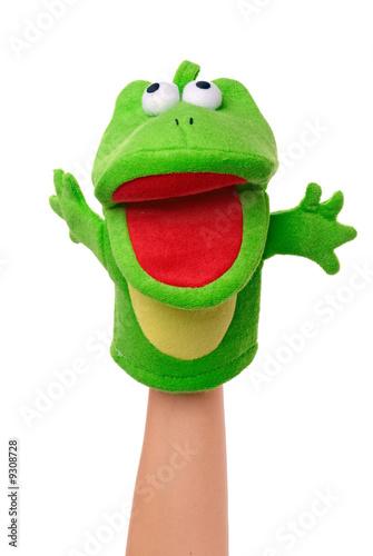 Obraz na plátně Hand puppet of frog isolated on white, happy emotion.