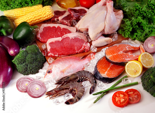 Fresh meat and vegetables