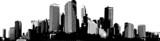 Fototapeta City - Black and white panorama city. Vector art