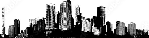Black and white panorama city. Vector art - 9327323