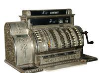Vintage Cash Register Isolated On White Background