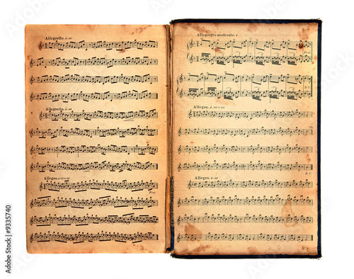 Photo Worn Tattered Distressed Vintage Book With Music Printed