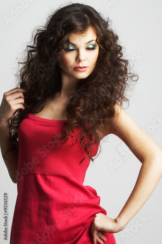 Foto op Plexiglas womenART Portrait of sexy woman with beautiful make-up and curly hair