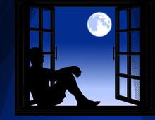 Man Sitting In The Night, Vector Illustration
