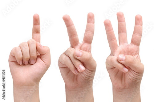 Fotografia  Child hands showing one, two and three fingers