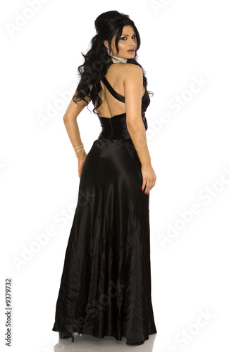 Pretty Woman Wearing Black Dress On White Background Buy This