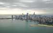 Magnificent photo of Chicago's skyline with overcast sky
