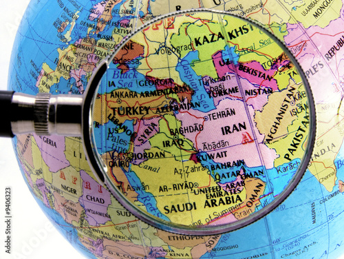 Foto op Canvas Midden Oosten Close up of middle east map seen through magnifying glass