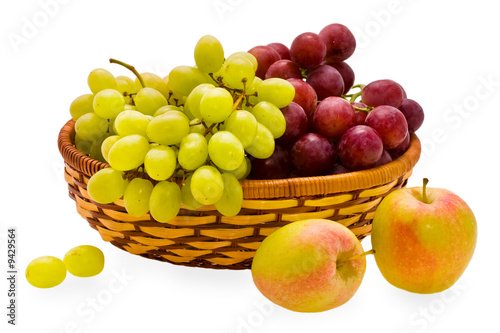 Poster Sap apple and grape of the miscellaneous sort in basket