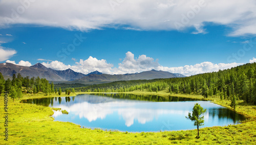 Poster Bergen Mountain landscape with beautiful lake and forest