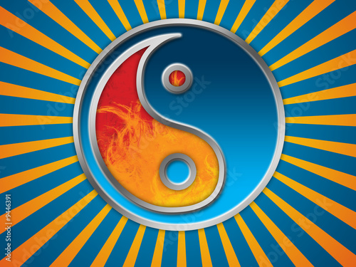 Jing Jang symbol background Canvas Print