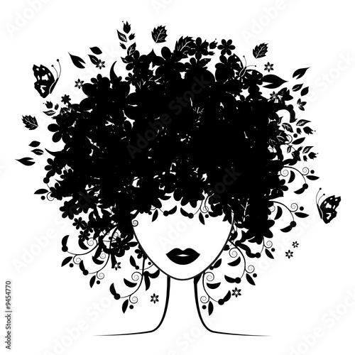 Foto op Canvas Bloemen vrouw Floral hairstyle