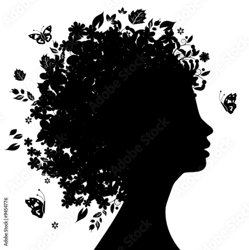 Recess Fitting Floral woman Floral head silhouette