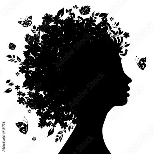 Foto op Canvas Bloemen vrouw Floral head silhouette