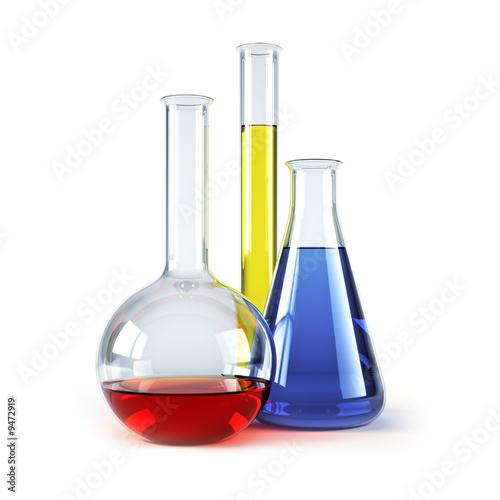 Fotografia  chemical flasks with reagents isolated 3d rendering