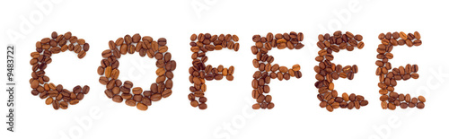 Canvas Prints Coffee beans Word Coffee isolated on white background
