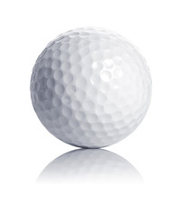 Golf Ball Isolated On White With Reflection