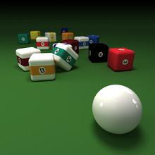 Cubic Billiards Balls On A Green Felt Table