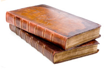 Two Antique Leather Books Isol...