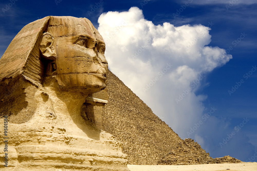 Foto-Fahne - The Sphinx and the Great Pyramid, Egypt.
