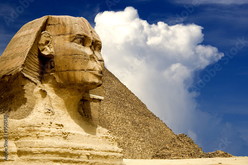 Spoed Foto op Canvas Egypte The Sphinx and the Great Pyramid, Egypt.