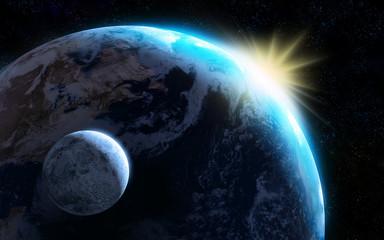 Raising sun illuminating our planet and moon.