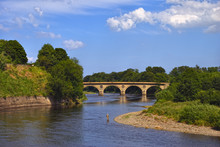 An Angler On A  Bend In The River Tweed