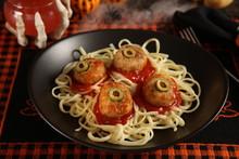 Halloween Meatballs With Eyes
