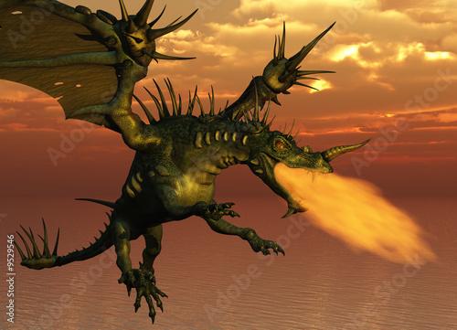 Foto op Plexiglas Draken 3D render of a fire-breathing dragon flying at sunset.