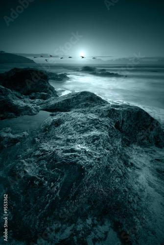 Poster Pleine lune Moonlit ocean