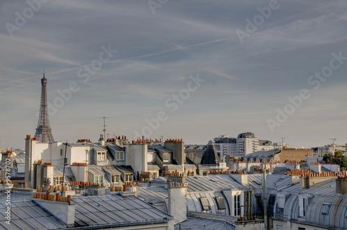 Poster Paris Tour Eiffel et toîts de Paris