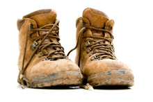 Pair Of Old Worn Walking Boots
