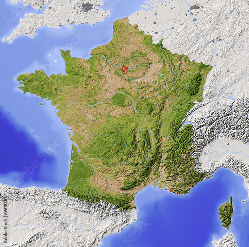 Fotografie, Obraz  France. Shaded relief map with natural colors.