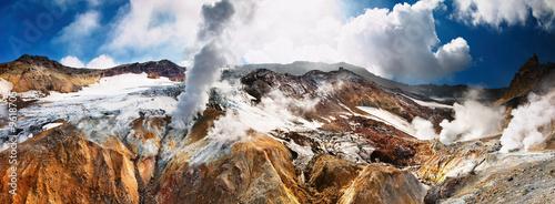 Autocollant pour porte Volcan Active volcanic crater, Mutnovsky volcano, Kamchatka