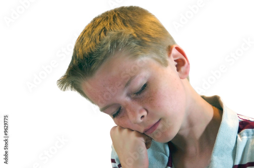 Blond Haired Boy Dozing Off Wallpaper Mural