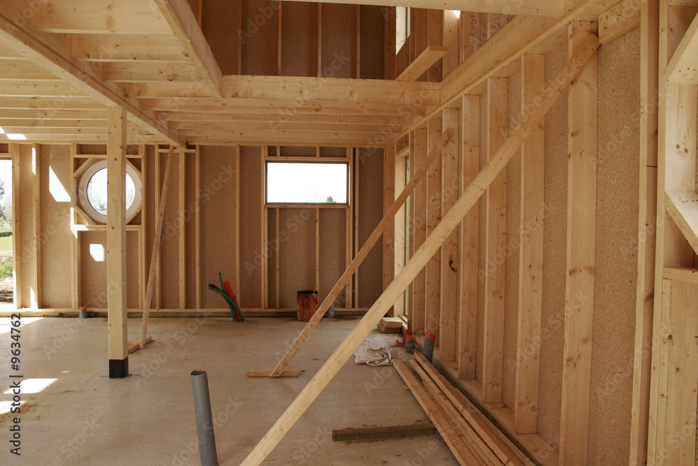 Fototapeta construction d'une maison en bois