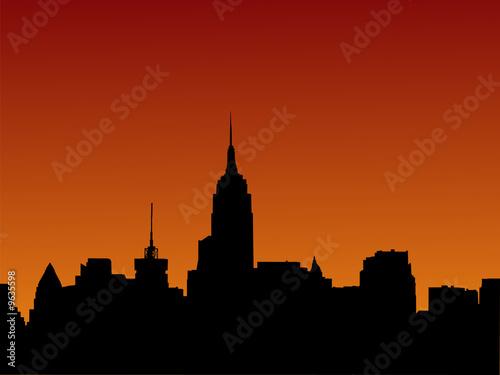 Poster Prague Midtown manhattan skyline at sunset illustration