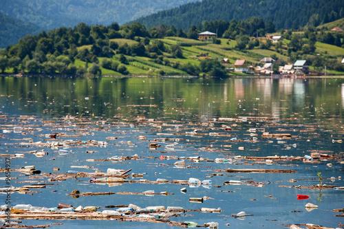 Printed kitchen splashbacks Khaki idyllic landscape ruined buy heavy pollution on water