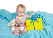 canvas print picture - Horizontal of a baby on a blue blanket