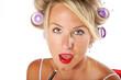 canvas print picture - Pretty Blond putitng on red lipstick