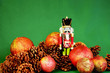 canvas print picture - Nutcracker with pinecones and red ball ornaments