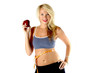 canvas print picture - healthy blond in exercise outfit with a measuring tape