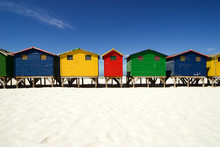Multi Colored Beach Huts In A ...