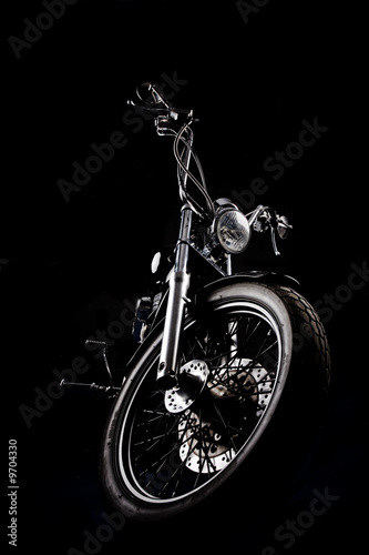 Chopper motorcycle front isolated on black Poster Mural XXL