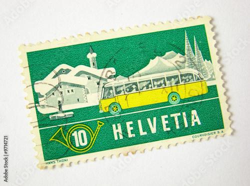 Valokuvatapetti Helvetia (Switzerland) postage stamp on white background