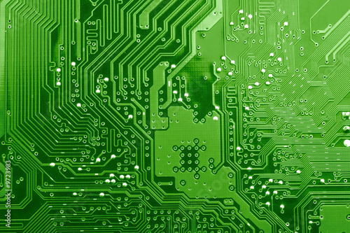 Fotografía  Green circuit board.
