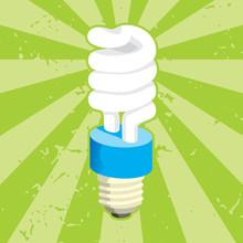 Spiral Compact Fluorescent Light Bulb On Grunge Background