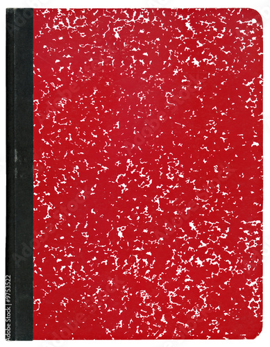 Fotografie, Obraz  Red composition notebook isolated on white.